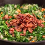Kale, Bacon and Cannellini Bean Skillet Pot Pie is delicious, nutritious comfort food for a chilly evening.