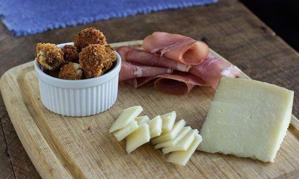 Fried Olives on a Charcuterie Board