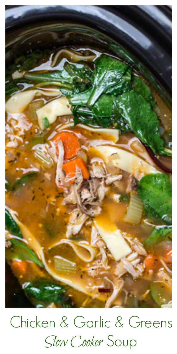 Chicken and Garlic Slow Cooker Soup