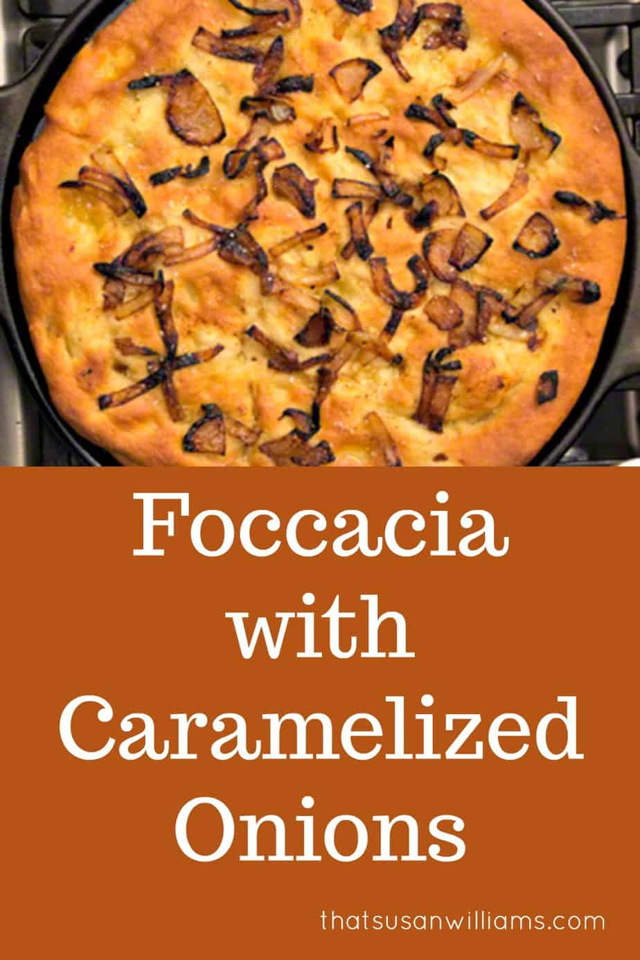 Foccacia with Caramelized Onions is a delicious Italian bread recipe, the perfect accompaniment to your favorite bowl of soup. #foccacia #bread #breadrecipe #caramelizedonions