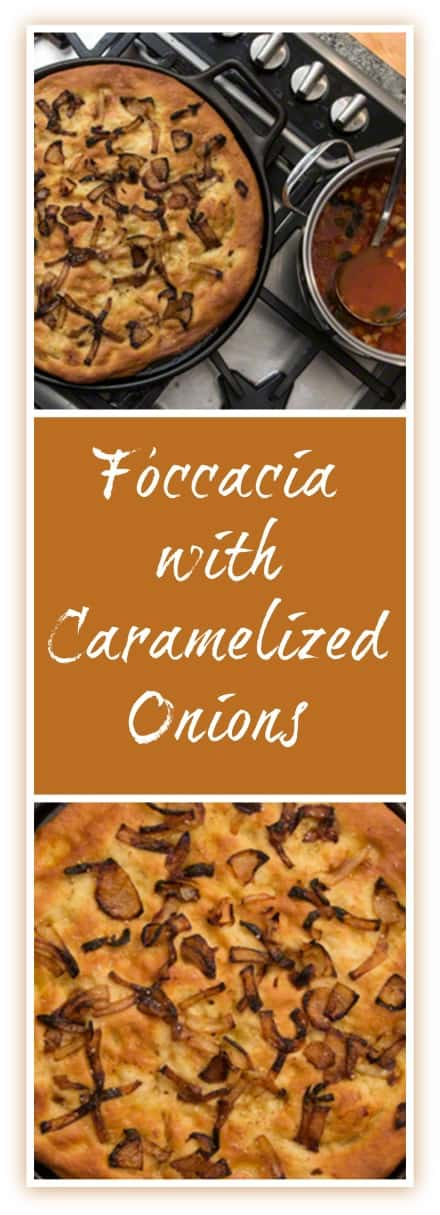 Foccacia with Caramelized Onions is the perfect accompaniment to a warm bowl of soup!