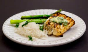 Grilled Halibut with Cilantro-Lime Compound Butter