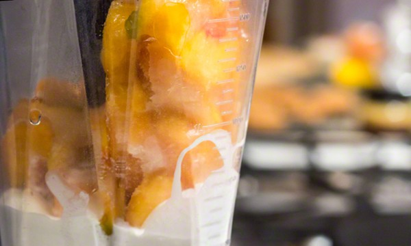 Homemade Peach Ice Cream in a VitaMix