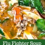 Cold/Flu Season calls for Flu-Fighter Soup: Chicken Soup with Greens and Garlic.#flufighter #immunesystemboosting #forcolds #easy #recipe #stovetop #homemade