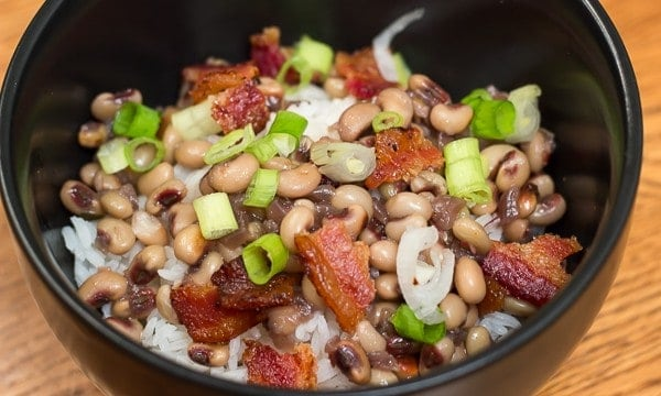 Purple Hull Peas with Bacon and Rice