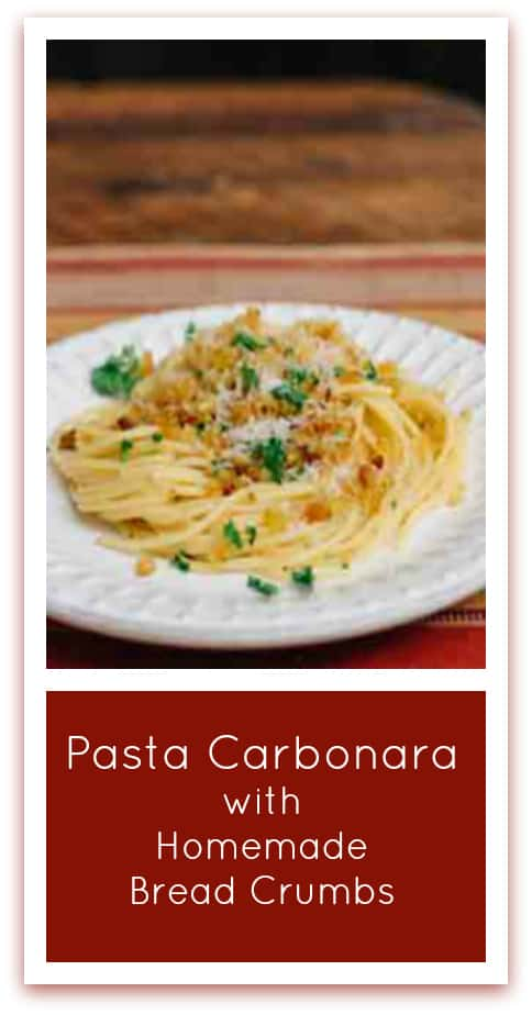 Pasta Carbonara with Homemade bread crumbs is a recipe that's quick, easy, frugal, and delicious!