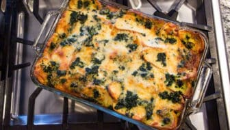 Holiday Breakfast Casserole with Spinach and Alpine Cheddar