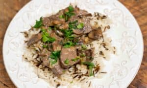 Venison Stroganoff on White and Wild Rice