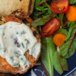 Wild Salmon Burger with Lemon, Capers and Toasted Sesame Mayonnaise: a more affordable way to enjoy salmon burgers.