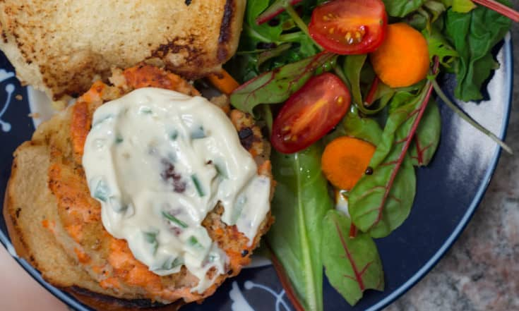 Wild Salmon Burgers with Lemon, Capers, and Toasted Sesame Mayonnaise