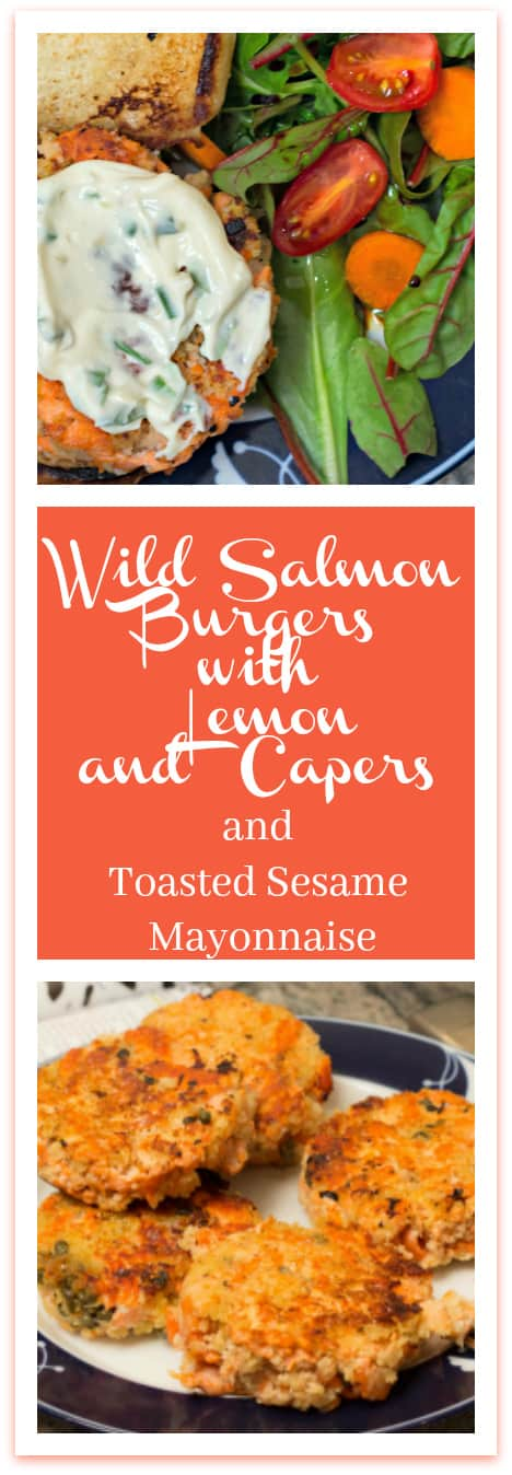 Wild Salmon Burger with Lemon, Capers and Toasted Sesame Mayonnaise: a more affordable way to enjoy wild salmon.