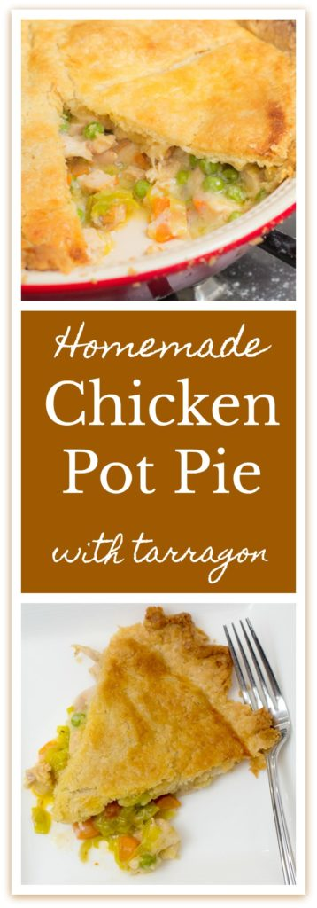 Homemade Chicken Pot Pie with Tarragon is the best use for leftover chicken I have found. #chicken #leftoverchicken #leftovers #comfortfood