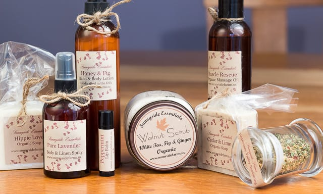 Sunnyside Farms Products: bath & body lines, organic herbal teas, cooking spice blends, and pet products.