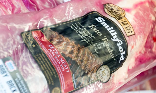 Smithfield Extra Tender Extra Meaty Pork Back Ribs in packaging.