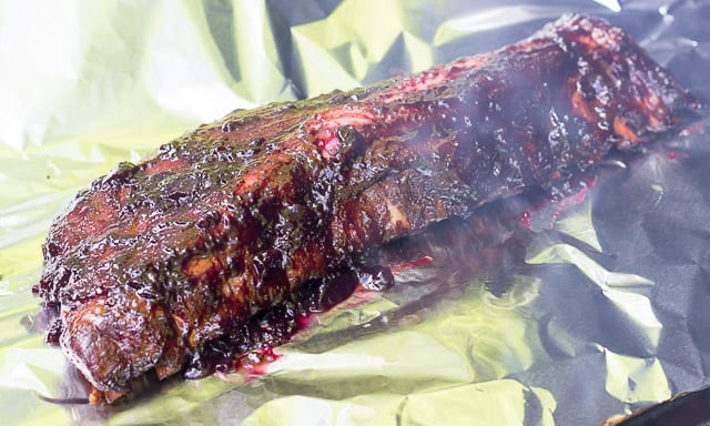 Ribs on Foil After Being Sauced