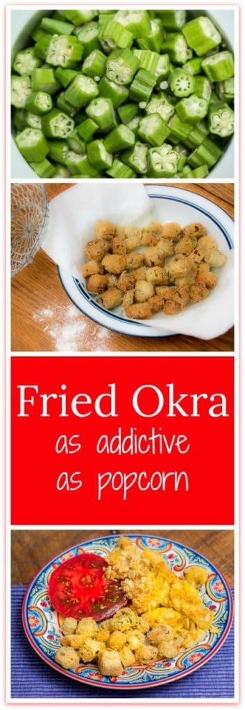 How to Make Fried Okra Recipe that's as addictive as popcorn. #southern #sidedish #okra #summerveggies #southernrecipes
