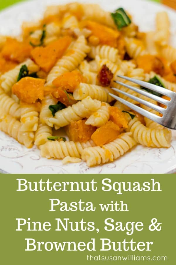 This fall recipe for roasted butternut squash with pine nuts, sage, and browned butter is the perfect comfort food for a cozy autumn evening. #recipe #pasta #roasted #sage #brownedbutter