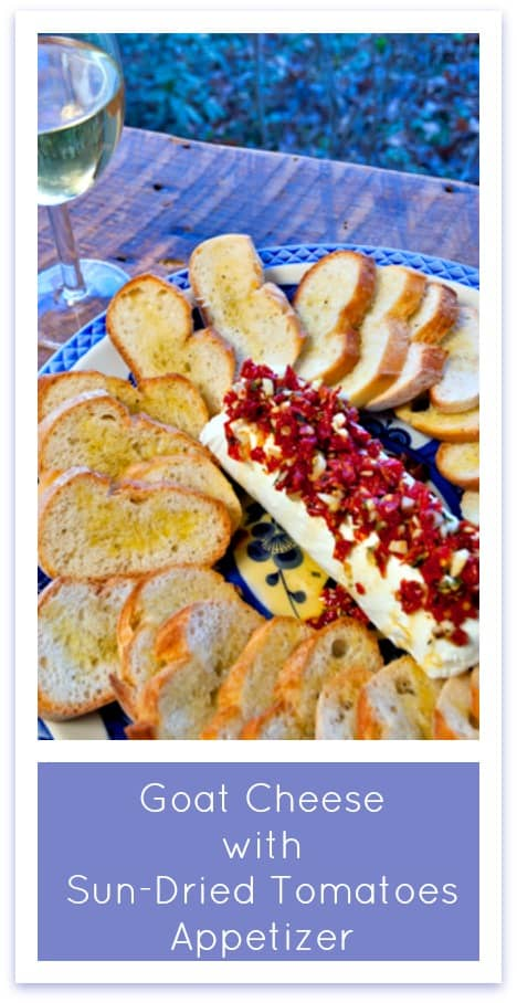 A Thanksgiving appetizer that's quick, easy, beautiful, and amazingly delicious! Goat Cheese with Sun-Dried Tomatoes, Garlic, and Rosemary on Crostini. Perfect for Christmas parties, too!