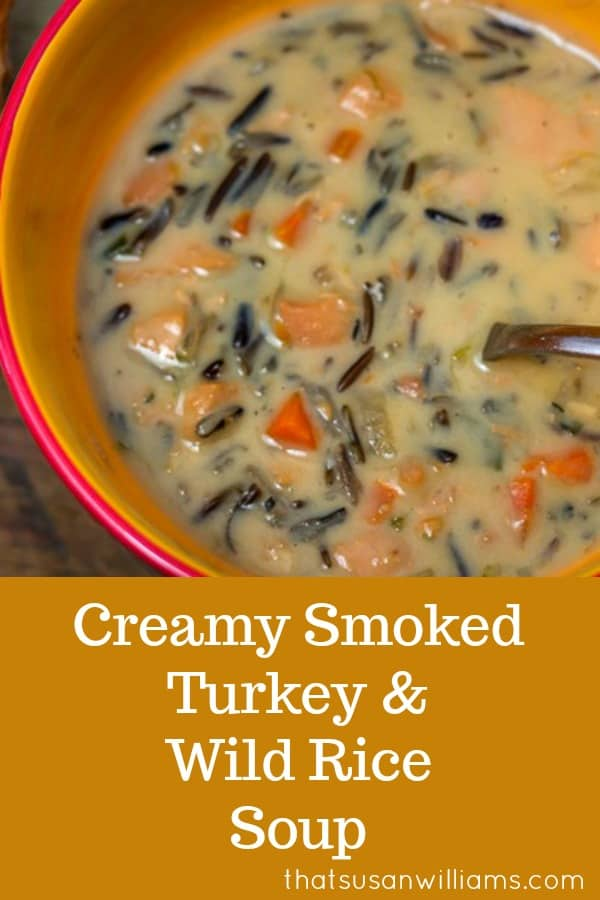 What to do with leftover turkey: Creamy Smoked Turkey and Wild Rice Soup #leftoverturkey #turkeysoup #Thanksgiving