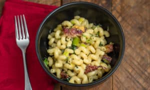 The Recipe for Pasta with Roasted Parsnips, Leeks and Bacon is creamy cozy comfort food at its apex.