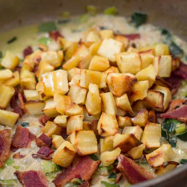 Pasta with Roasted Parsnips, Leeks and Bacon