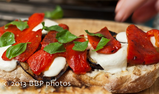 Grilled Eggplant, Red Pepper and Fresh Mozzarella on Ciabatta Sandwich