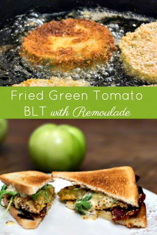 Fried Green Tomato BLT Sandwich with a slightly spicy remoulade. #southernrecipes #friedgreentomatoes #summer #summerrecipe