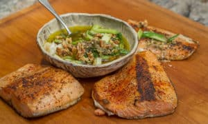 Wild Salmon with Charred Scallion Sauce #recipe #salmon #fish #healthy #simple