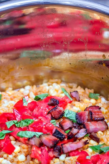 The easiest way to make an Italian dish that tastes like summer in the South. #corn, #tomatoes #bacon #pressurecooker #InstantPot #risotto #easy #recipe