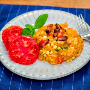 Southern Summer Risotto in a Pressure Cooker: with Corn, Tomatoes and Bacon