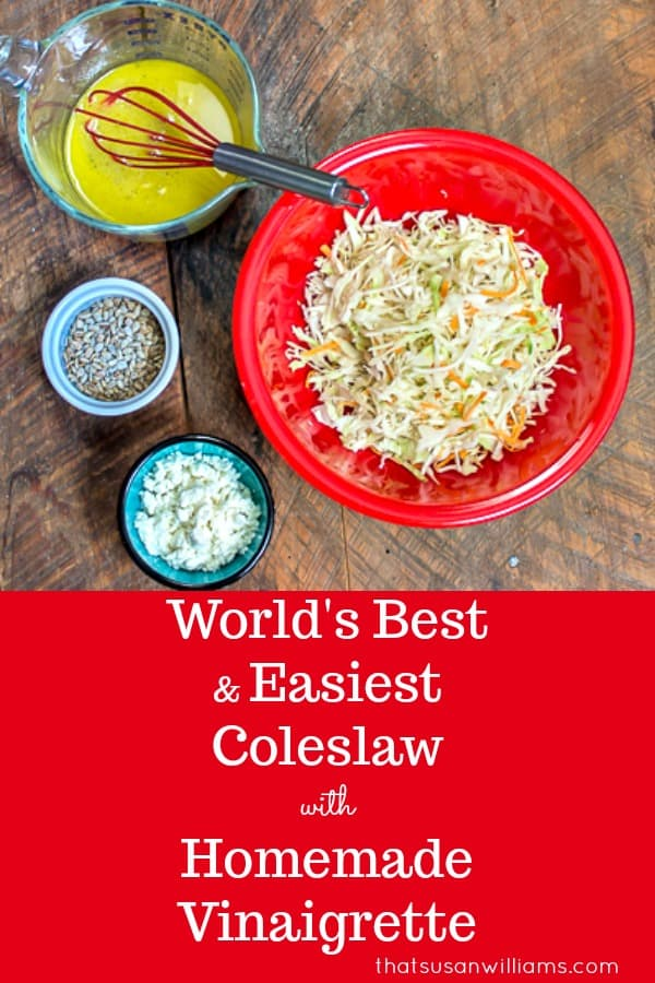 World's Best and Easiest Coleslaw with a Homemade Vinaigrette #coleslaw #easiest #fromscratch #recipe