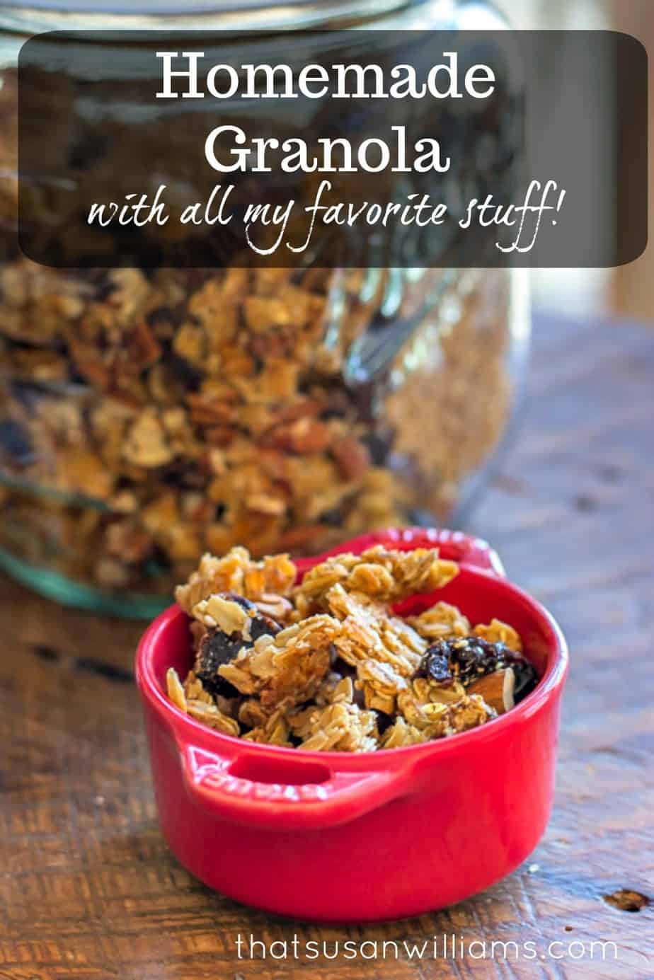 Homemade Granola is the best because you can put all YOUR favorite stuff in it! #granola #homemade #birchermüesli #breakfast