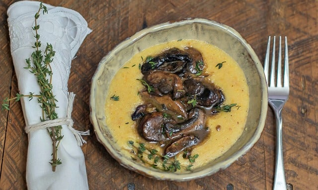 Luscious Mushrooms with Creamy Polenta is a delicious sautéed mushroom recipe, perfect as a vegetarian weeknight meal. #mushrooms #sautéed #recipe #vegetarian