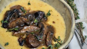 Luscious Mushrooms with Creamy Polenta is a delicious sautéed mushroom recipe, perfect as a vegetarian weeknight meal. #mushrooms #sautéed #recipe #vegetarian