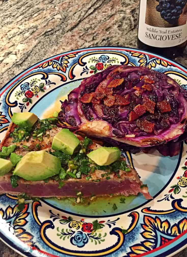 Super Simple Grilled Tuna Steak with Avocado, Soy, Ginger and Lime