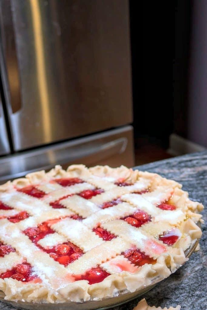 Unbaked Lattice Cherry Pie