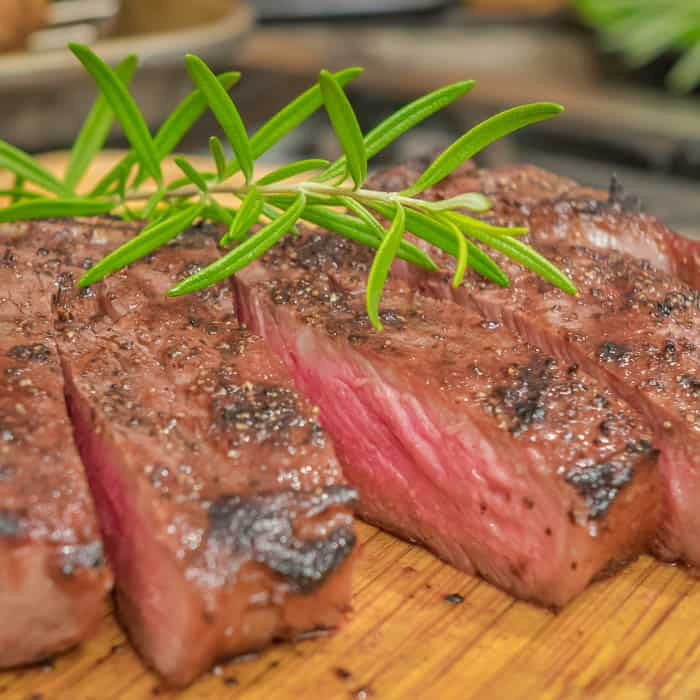 Perfectly grilled dry-aged Prime Beef Strip Steak.