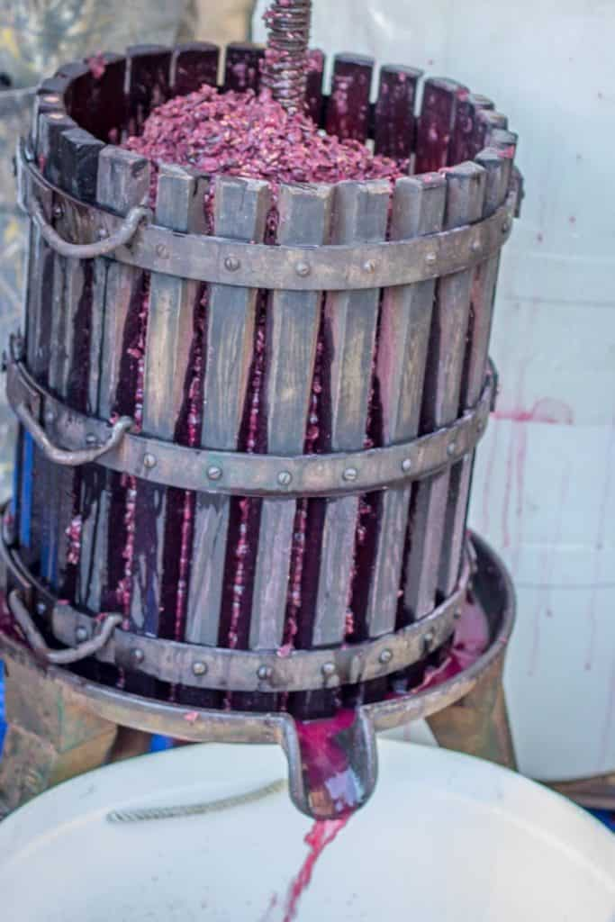 A picture of the press in its entirety, as we are loading the grapes into it.