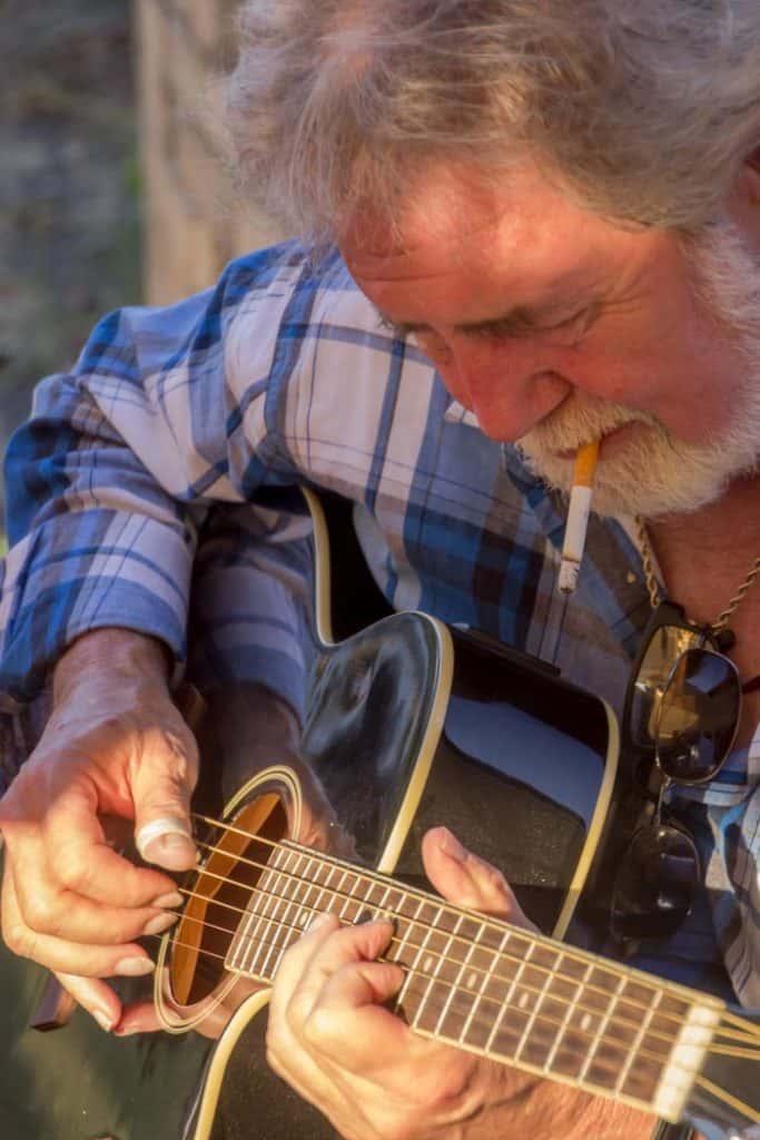 Guitar player at potluck