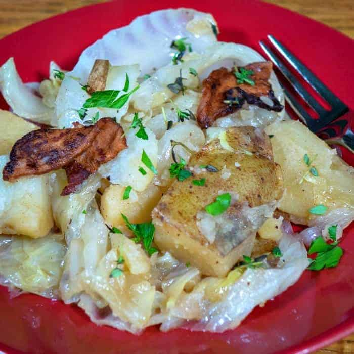Caboose: Stovetop Cooked Cabbage, Potatoes and Bacon