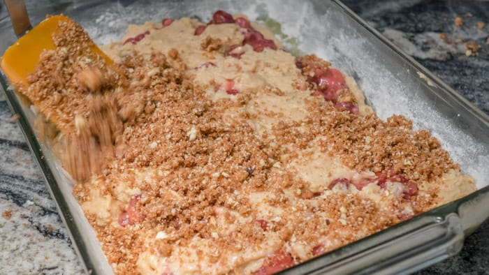 Coffee Cake with Cherries, Pecans, and Browned Butter
