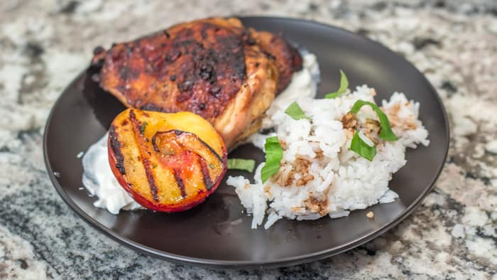 Gingery Balsamic Grilled Chicken Thighs with Grilled Peaches
