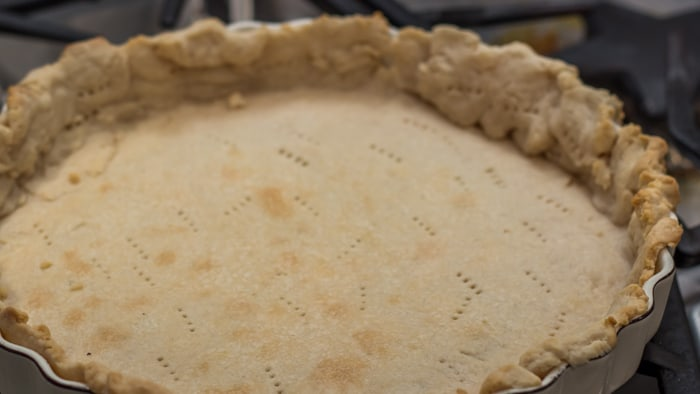 The Blind Baked Crust of Savory Summer Squash Pie