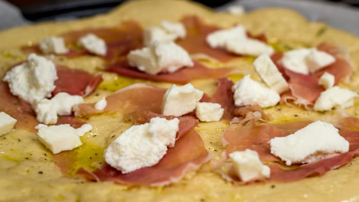 Peach, Ricotta and Prosciutto Pizza with Rosemary Balsamic Reduction