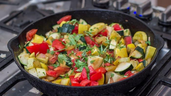 Sautéeing the veggies