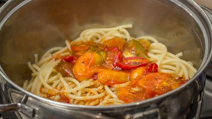 Roasted Tomato Sauce on Pasta