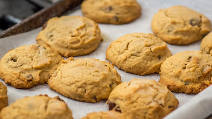 Baked Salty-Sweet Peanut Butter Chocolate Chip Shortbread Cookies.