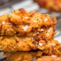 Homemade extra crispy fried chicken, flecked with flakes of Maldon Sea Salt flakes