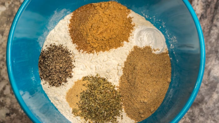 All my spices and the baking powder are ready to be mixed into the flour.