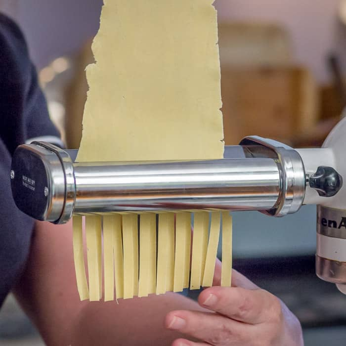 There is also a separate attachment that is for cutting. Mine has settings that will cut fettucine, Spaghetti, and Capellini (Angel Hair) pasta.